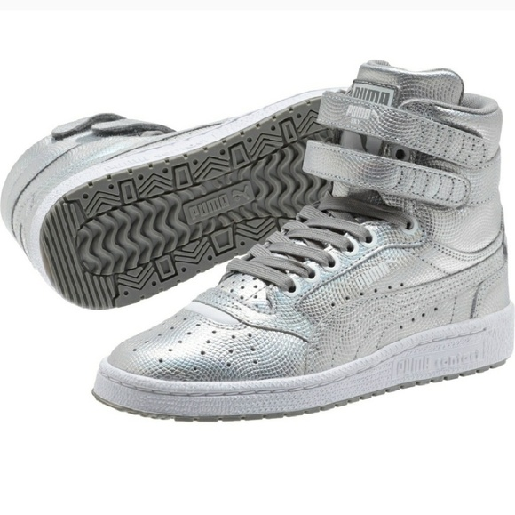 High Top Silver Metallic Pumas NWT